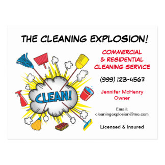 Postales del servicio de la limpieza de la