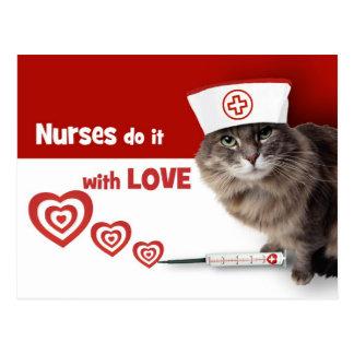 Postales divertidas de la enfermera del gatito