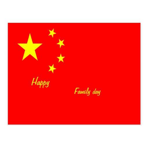 Postales felices de China del día de la familia