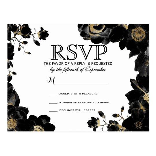 Postales florales negras acentuadas de oro de RSVP