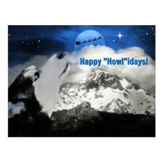 Postales observadas azul bonito del perro esquimal