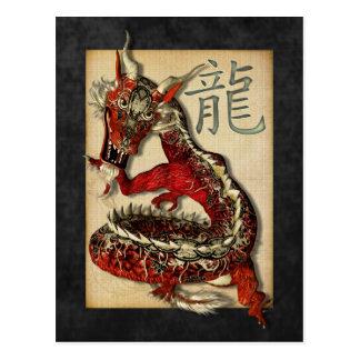Postales rojas chinas del dragón