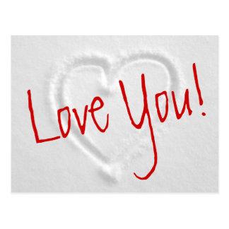 Postales románticas del invierno con el corazón