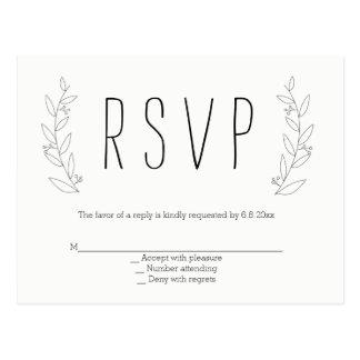 Postales rústicas del rsvp del boda de la