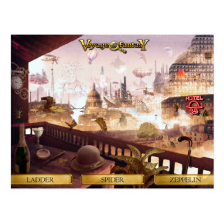 Postcard Voyage to Fantasy - SteamPunk City Postal