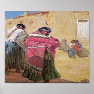 Poste 1915 del arte del pueblo de Taos de los indi Póster