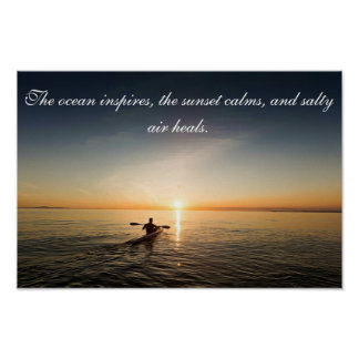 Poste inspirado de la cita de la canoa del kajak póster