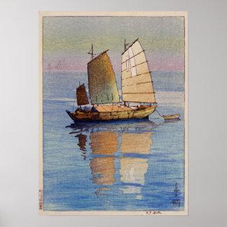 Póster 帆船夕日, resplandor de tarde de los barcos de