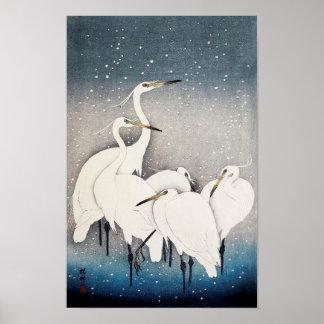 Póster 白鷺の群れ, grupo de Egrets, Ohara Koson, grabar en