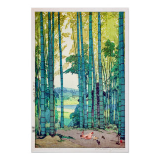 Póster 竹林, arboleda de bambú, Hiroshi Yoshida, grabar en