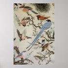 Póster 群鳥図, 中住道雲, pájaros (detalle), Nakazumi Doun