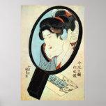 Póster 鏡の中の女, mujer en el espejo, Kunisada del 国貞