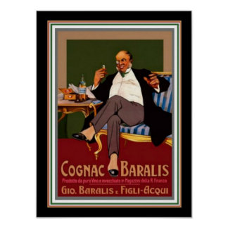 Poster 12 x 16 del anuncio del vintage de Baralis Póster