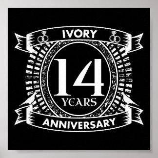 Póster 14to aniversario de la MARFIL del boda