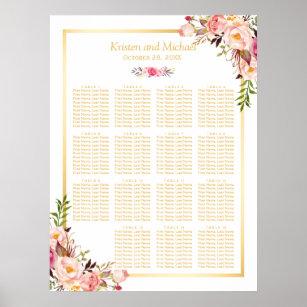 Póster 15 tablas que casan floral elegante con clase de