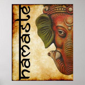 """Póster 16"""""""" diseño indio del namaste del ganesha de dios"""