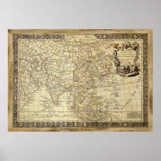 Póster Poster 1700 del arte del MAPA de VIEJO MUNDO del