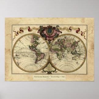 """Poster 1720 del mapa de Guillaume DeLisle"" Olde W"