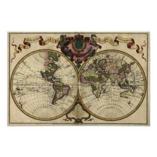 """Poster 1720 del mapa de Olde Worlde del deLisle d Póster"