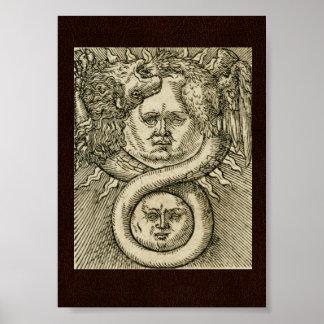 Póster 17mo C. Ejemplo de la alquimia: Sun, luna y dragón