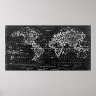 Póster 1827) lo contrario blanco y negro del mapa del