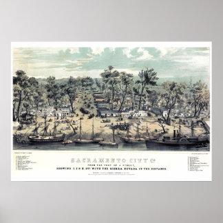 Poster 1850 del vintage de Sacramento California Póster