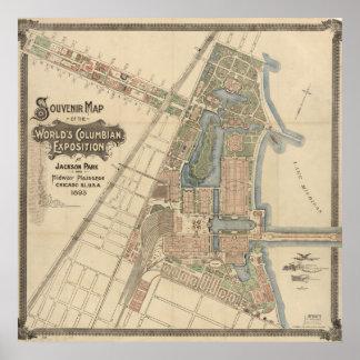 Póster 1893 mapa colombino de la exposición del mundo,