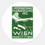 Poster 1912 del salón aeronáutico de Viena Etiqueta Redonda