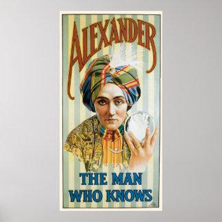 Poster 1915 del mago de Alexander del vintage Póster