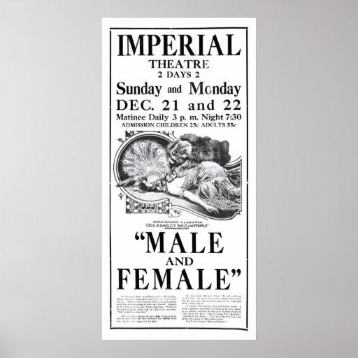 Poster 1919 del anuncio de la película del vintage