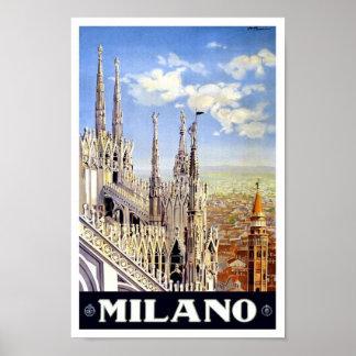 Poster 1920 del viaje del vintage de Milano Póster