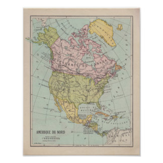Póster 1920 ' s French North América Map