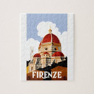 Poster 1930 del viaje de Florencia Italia Puzzle