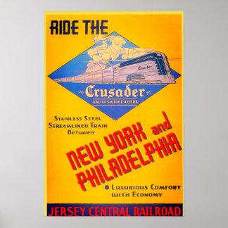Poster 1937 del tren del cruzado del ferrocarril póster