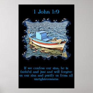 Póster 1 1:9 de Juan con un barco viejo en el océano