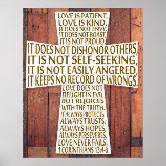 Póster 1 madera rústica de la cruz del capítulo del amor