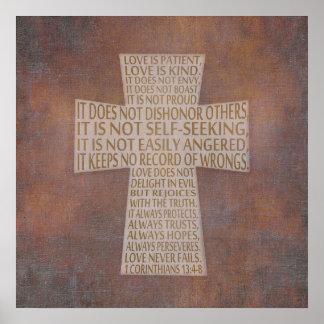 Póster 1 poster rústico de la cruz del capítulo del amor