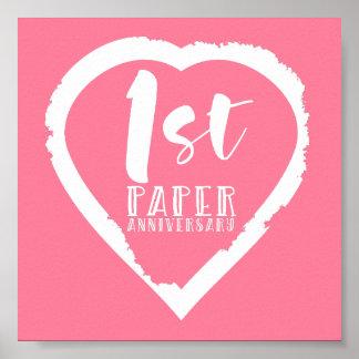 Póster 1r corazón del aniversario de boda de papel
