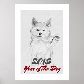 Póster 2018 años del lavado de la tinta del perro que