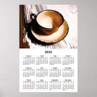 Póster 2018 tazas de té del calendario de pared y poster
