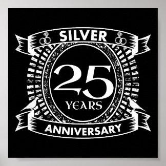 Póster 25to escudo de la plata del aniversario de boda