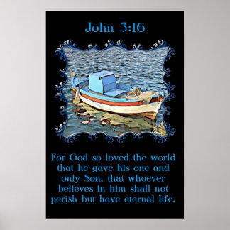 Póster 3:16 de Juan con un barco viejo en el océano