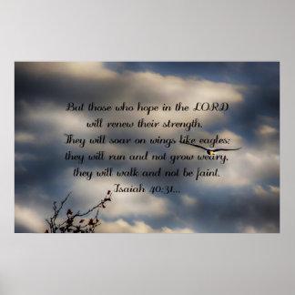 Póster 40:31 de Isaías del verso de la biblia
