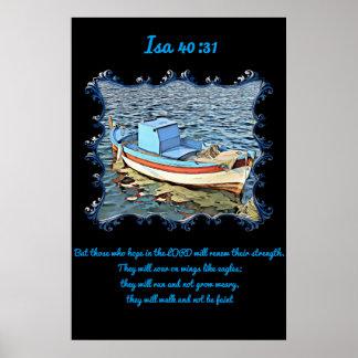 Póster 40:31 del AIA con un barco viejo en el océano