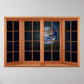 Póster 4 artesonó la ilusión de madera de la ventana de