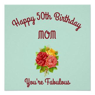 Póster 50.o cumpleaños de la mamá