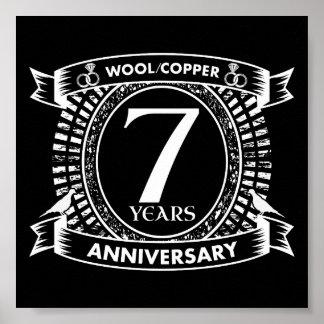Póster 7mo cobre de las lanas del aniversario de boda