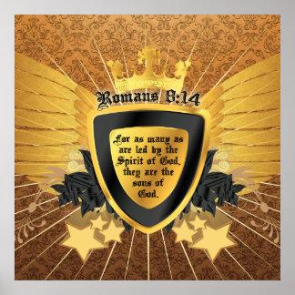 Póster 8:14 de los romanos del oro, hijos de dios