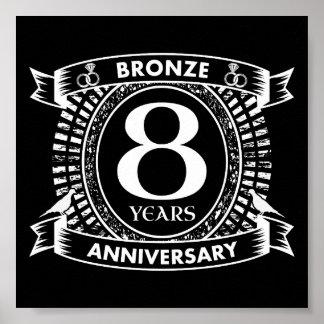 Póster 8vo bronce del aniversario de boda