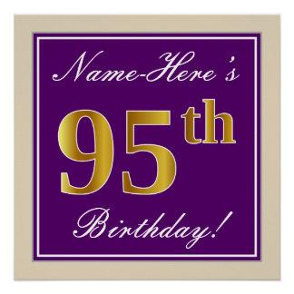 Póster 95.o cumpleaños del oro elegante, púrpura, falso +